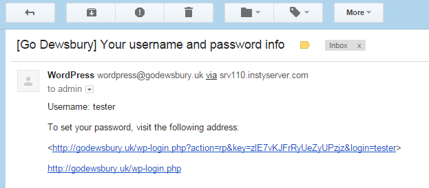 screenshot of Your username and password