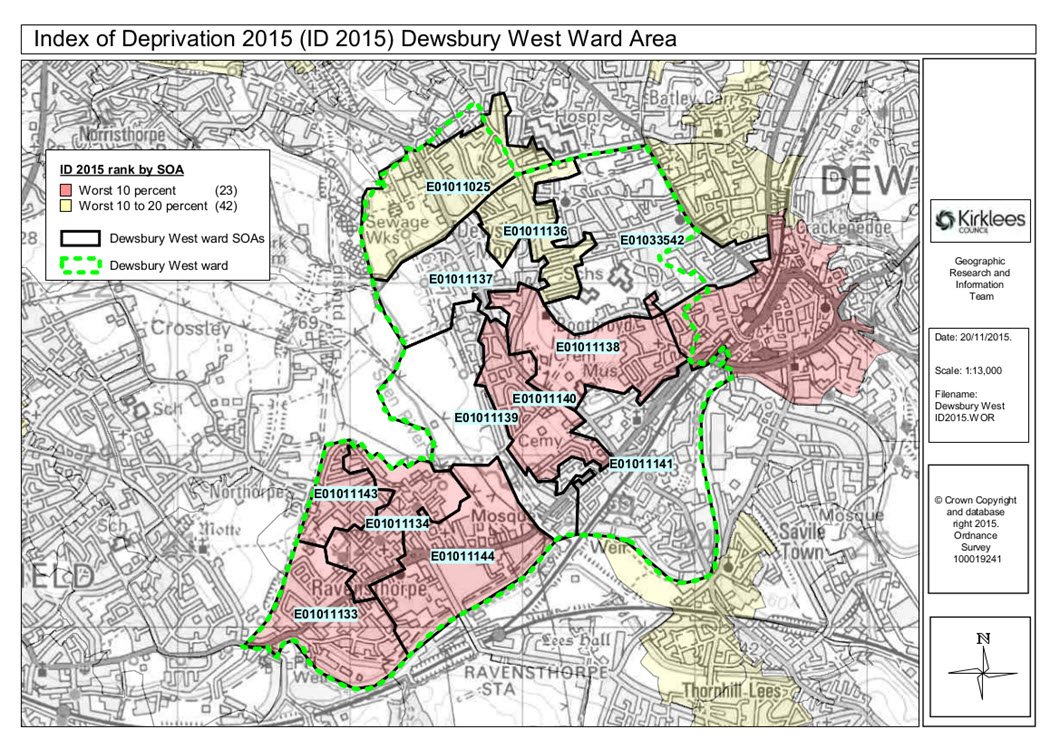 Map of deprivation in Dewsbury West