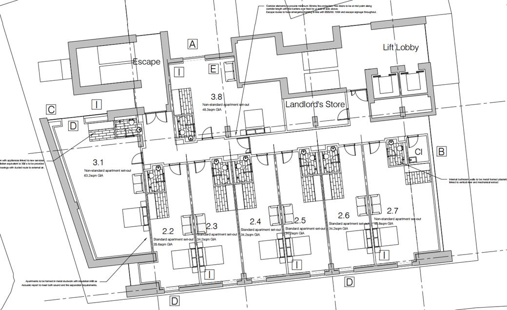 floorplan of the interior of Yorkshire House, Dewsbury