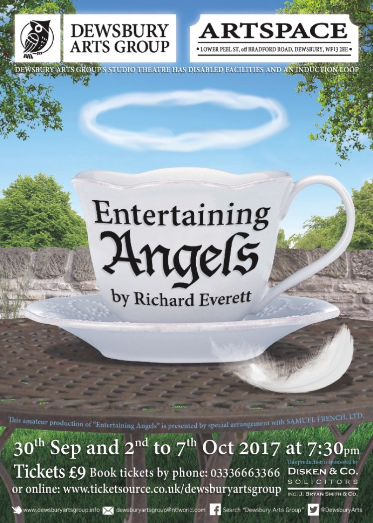 theatre poster advertising Entertaining Angels at Dewsbury Arts Group