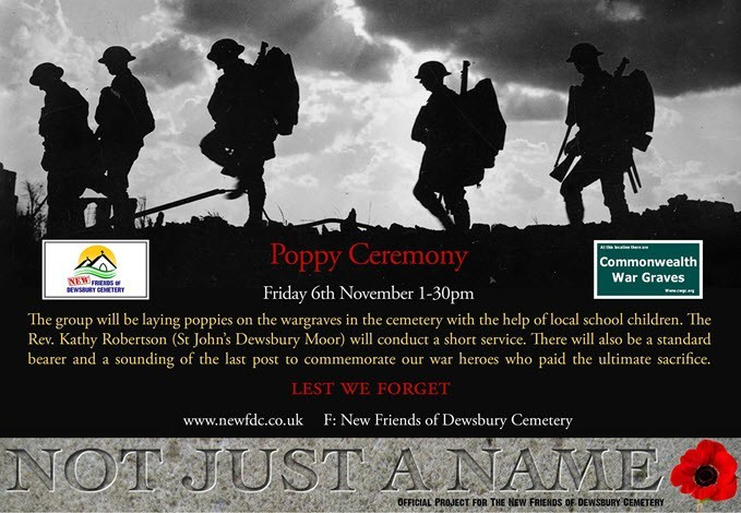 image of poster for poppy ceremony at Dewsbury Cemetery