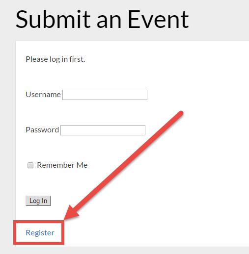 screenshot of Register page