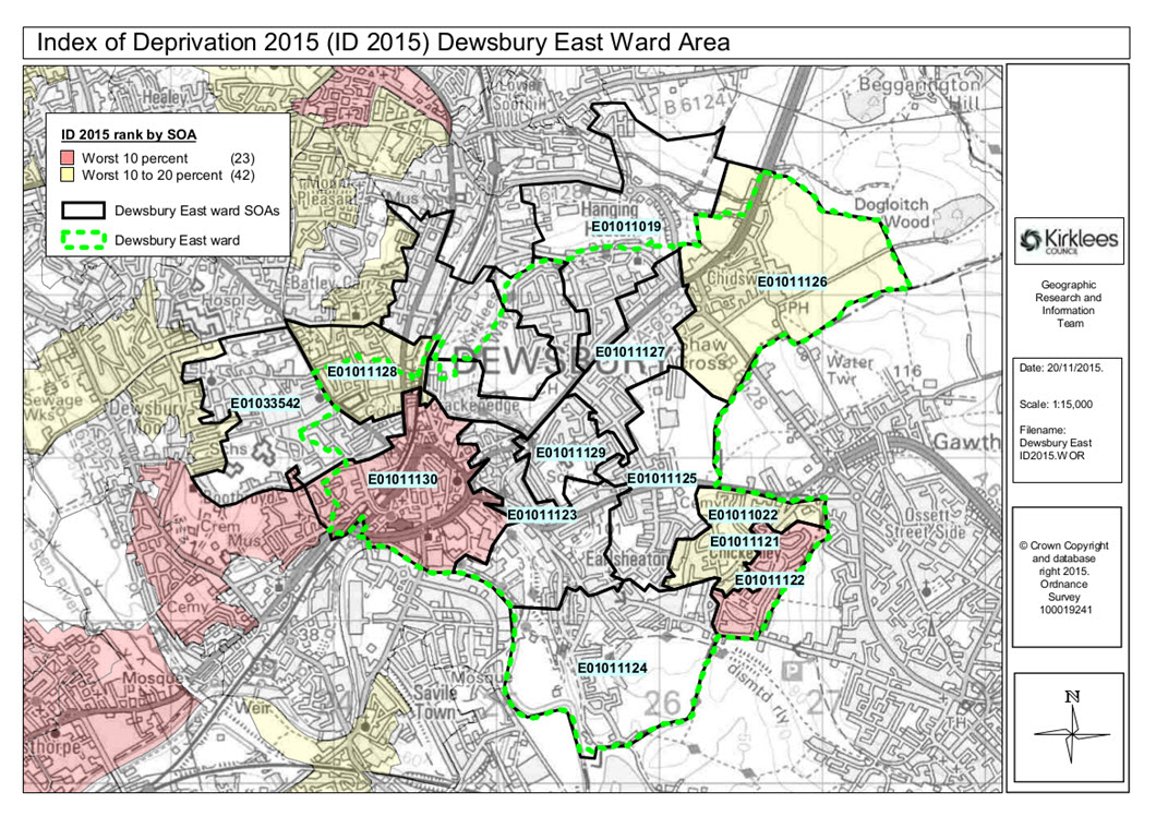 Map of deprivation in Dewsbury East ward