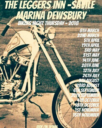 poster for Bikers Night at The Leggers, Dewsbury
