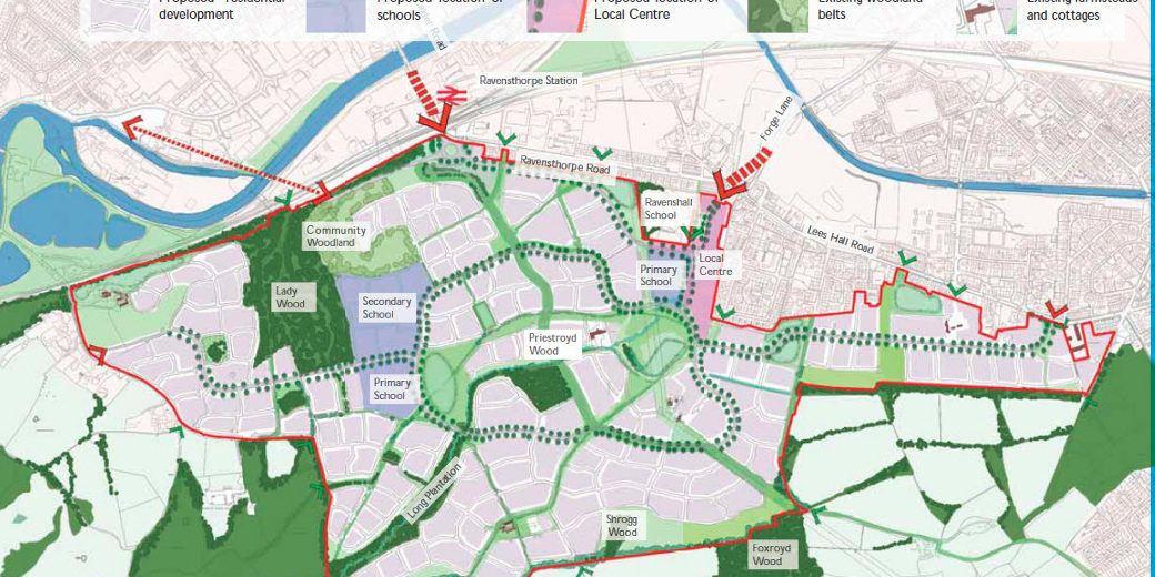Plan of future development at Dewsbury Riverside