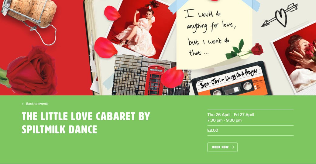 poster for the Little Love Cabaret at Northorpe Hall, Mirfield