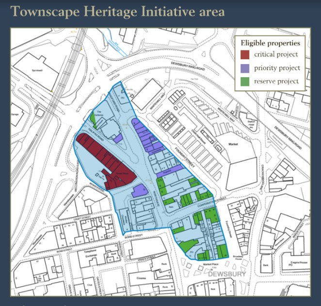 map of Dewsbury Townscape Heritage Initiative