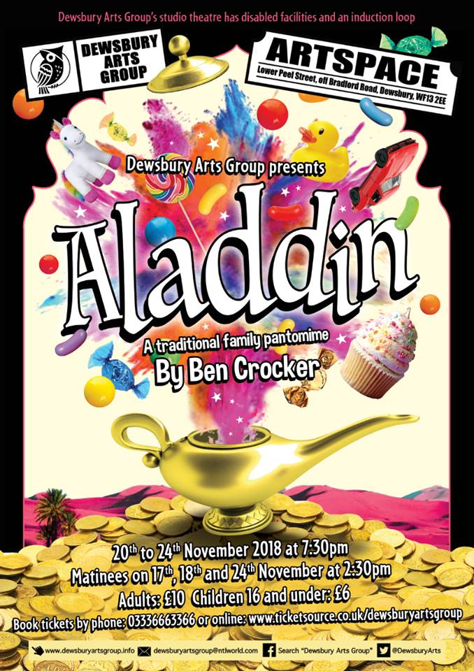 poster for Aladdin pantomime in Dewsbury