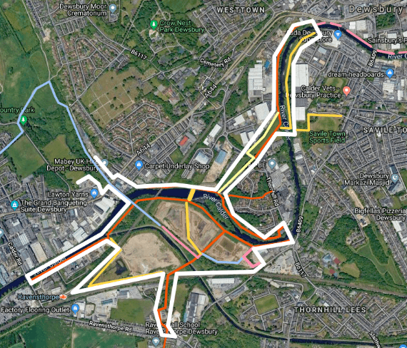 map of the proposed cycling and walking route in Dewsbury